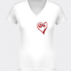 cuello V camiseta heart lutxana regalos originales blanca